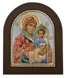 """Икона 15,6x19 """"Иерусалимская"""" Богородица (серебро; цвет, деревянная основа)"""