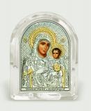 """Икона 5,3x6,7x2,1 """"Иерусалимская"""" Богородица (серебро; овал, стекло)"""