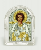 Икона 5,3x6,7x2,1 Пантелеимон (серебро; овал, стекло)