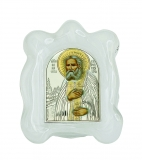 Икона 7x9 Серафим Саровский (серебро; стекло мурано)