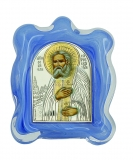 Икона 7х9 Серафим Саровский (серебро; стекло мурано)