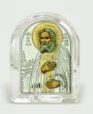 Икона 6,8x8,4x2,3 Серафим Саровский (серебро; овал, стекло)