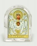 "Икона 5,3x6,7x2,1 ""Неупиваемая чаша"" Богородица (серебро; овал, стекло)"