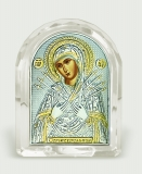 "Икона 5,3x6,7x2,1 ""Семистрельная"" Богородица (серебро; овал, стекло)"