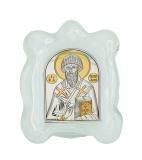 Икона 7x9 Спиридон Тримифутский (серебро; стекло мурано)