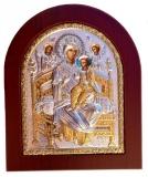 """Икона 11x13 """"Всецарица"""" Богородица (серебро; цвет, деревянная основа)"""