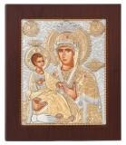 """Икона 10,8x12,8 """"Троеручница"""" Богородица (серебро)"""