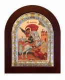 Икона 8,5x10 Георгий Победоносец (серебро; деревянная основа,шелкография)
