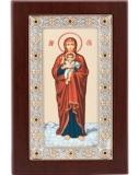 """Икона 10,4x17,8 """"Валаамская"""" Богородица (серебро; деревянная основа, шелкография)"""