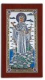 """Икона 10,4x17,8 """"Афонская"""" Богородица (серебро; деревянная основа, подставка)"""