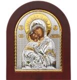 """Икона 20x25 """"Владимирская"""" Богородица (серебро; деревянная основа)"""