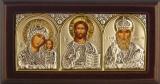 """Икона 9,3x5 """"Казанская"""" Богородица, Спаситель, Николай (серебро; триптих, шелкография)"""