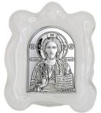 Икона 4,5x5 Иисус Христос (серебро, стекло мурано)