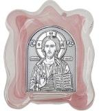 Икона 7x9 Иисус Христос (серебро, стекло мурано)