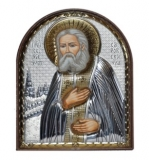 Икона 8,5x10,5 Серафим Саровский (серебро; пластиковая основа)