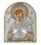 """Икона 8,5x10,5 """"Семистрельная"""" Богородица (серебро; пластиковая основа)"""