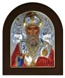 Икона 15,6x19 Николай Чудотворец (серебро; цвет, деревянная основа)