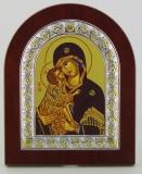 """Икона 11x13 """"Владимирская"""" Богородица (серебро; деревянная основа, шелкография)"""