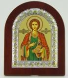 Икона 11x13 Пантелеимон (серебро; деревянная основа, шелкография)