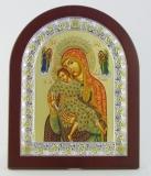 """Икона 15,6x19 """"Иерусалимская"""" Богородица (серебро; деревянная основа, шелкография)"""