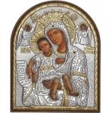 """Икона 8,5x10,5 """"Достойно есть"""" Богородица (серебро; пластиковая основа)"""