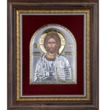 Икона 27,6x23,2 Иисус Христос (серебро, стекло, бархат)