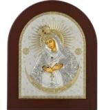 """Икона 8,5x10 """"Остробрамская"""" Богородица (серебро; деревянная основа)"""
