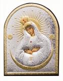 """Икона 7,5x5,8 """"Остробрамская"""" Богородица (посеребрение; овал, деревянная основа)"""
