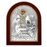 Икона 15,6x19 Георгий Победоносец (серебро; деревянная основа)