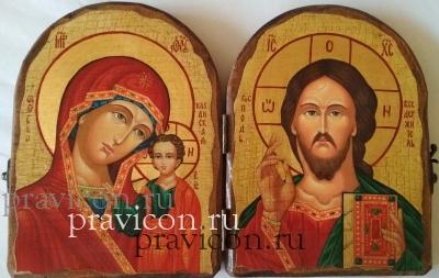 Складень двойной, под старину, Спаситель Казанская(казанская Справо)