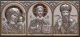 """Икона 7,7x3,4 """"Казанская"""" Богородица ,Спаситель ,Николай (серебро; триптих)"""